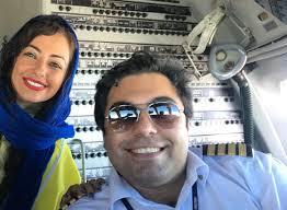 نفیسه روشن و همسرش در هواپیما